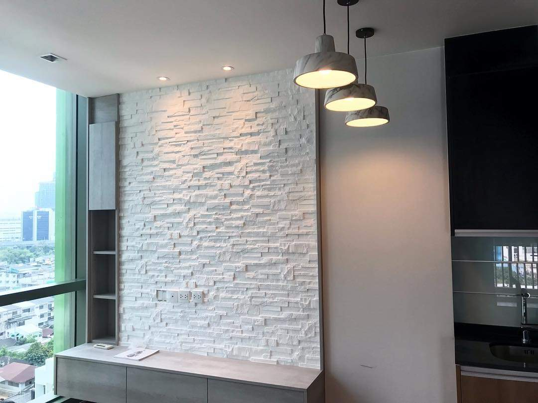 White Stacked Stone Feature Wall
