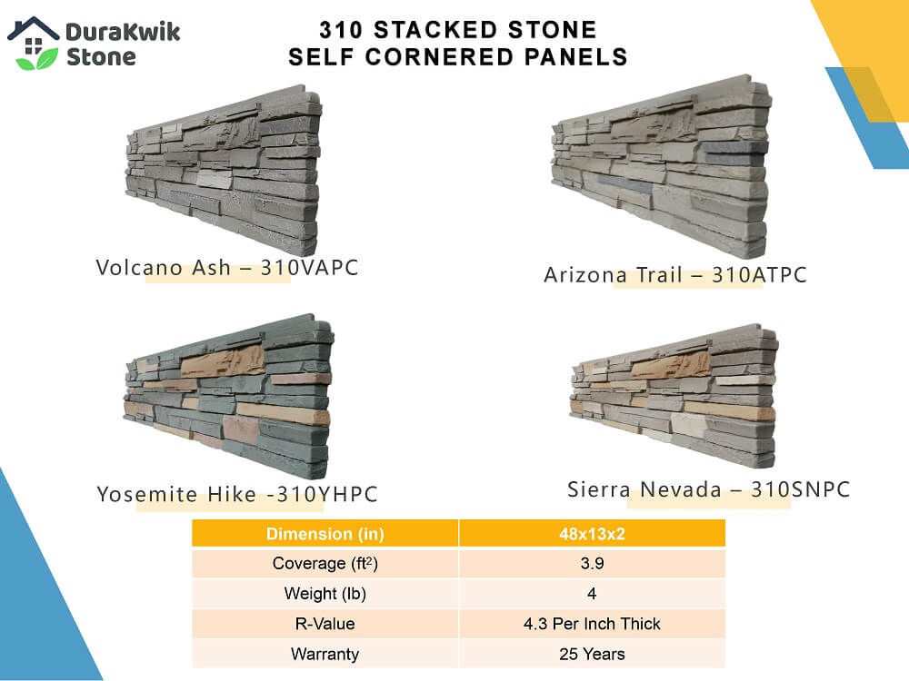 Durakwik Stone Panel 310 Stacked Stone Self Cornered Panels